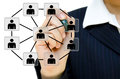 Hand drawing social network structure Stock Image