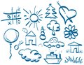 Hand drawing symbols set in doodle style drawn using a graphics tablet in vector format Royalty Free Stock Photography