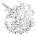 Hand drawing Unicorn for adult anti stress coloring pages Royalty Free Stock Photo