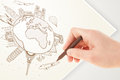 Hand drawing vacation trip around the earth with landmarks and c globe major cities Royalty Free Stock Photography