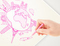 Hand drawing vacation trip around the earth with landmarks and c globe major cities Stock Photos