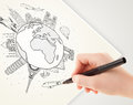 Hand drawing vacation trip around the earth with landmarks and c globe major cities Stock Image