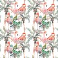 Watercolor seamless pattern of palm with flamingo on white background, Hand drawn illustration for your design. For