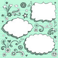 Hand-Drawn 3D Speech Bubbles Sketchy Doodles Royalty Free Stock Photo