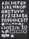 Hand drawn abc elements illustration of a complete set of sketched and doodled letters and font also containing dollar euro Stock Image