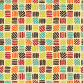 Hand drawn abstract geometric seamless pattern in retro palette Stock Image