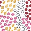 Hand drawn abstract vector seamless pattern in memphis style.