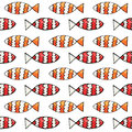 Hand drawn abstract watercolor and ink fish seamless pattern