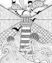 Hand drawn adult coloring page, artistically Sea with ethnic Lig