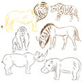 Hand Drawn African Wilde Animals. Doodle Drawings of Lion, Stripped Hyena, Gorilla, Wildebeest, Hippo and Rhinoceros. Sketch Style
