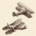 Hand drawn airplanes set