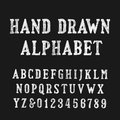 Hand drawn alphabet font. Distressed vintage letters and numbers.