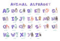 Hand-drawn alphabet, font, letters. Doodle ABC for kids with cute animal characters. Vector illustration, isolated on Royalty Free Stock Photo