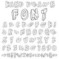 Hand drawn alphabet handwritten font doodle letters uppercase lowercase numbers digits symbols set isolated in white background Royalty Free Stock Photography