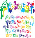 Hand drawn alphabet - letters are made of  water c Royalty Free Stock Photo