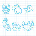 Hand drawn animals cartoon on paper Royalty Free Stock Photos