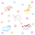 Hand drawn animals cartoon on white background Stock Images