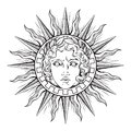 Hand drawn antique style sun with face of the greek and roman god Apollo. Flash tattoo or print design vector illustration Royalty Free Stock Photo