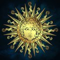 Hand drawn antique style sun with face of the greek and roman god Apollo over blue sky background. Flash tattoo or fabric print de