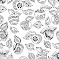 Hand drawn apples and leaves for anti stress colouring page. Seamless pattern for coloring book.
