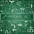 Hand drawn arrow icons set with question and exclamation marks on green chalkboard vector illustration Stock Photography