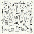 Hand drawn Art and Craft vector symbols and objects Royalty Free Stock Photo