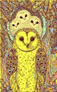 Hand drawn art with owls on the oak tree. Realistic psychedelic colorful graphic artwork. Vector illustration