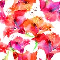 Hand drawn artistic background with red hibiscus flowers. Botanical motif by hand. Seamless pattern. Watercolor hibiscus Royalty Free Stock Photo