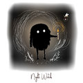 Hand drawn artistic creative artwork illustration with black cute monster with candle in night fairy forest.
