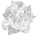 Hand drawn artistic ethnic ornamental patterned floral frame.