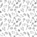 Hand drawn artistic meat seamless pattern for adult coloring page