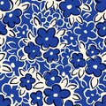 Hand Drawn Artistic Naive Daisy Flowers Outlines on Blue Background Vector Seamless Pattern Royalty Free Stock Photo