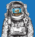 Hand drawn Astronaut Filled With Water and Goldfish Royalty Free Stock Photo