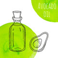 Hand drawn avocado oil bottle with green watercolor spots