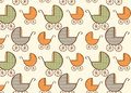 Hand drawn baby carriage pattern illustration Royalty Free Stock Photography