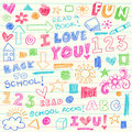Hand-Drawn Back to School Crayon Doodle Elements Royalty Free Stock Images