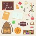 Hand drawn back to school theme cartoon design elements Royalty Free Stock Photo