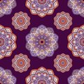 Hand drawn background with decorative elements in purple, violet and orange colors