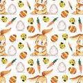 Hand drawn Watercolor Bunny and eggs Easter Seamless Pattern. Background wallpaper for fabric, paper and printing