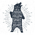 Hand drawn badge with grizzly bear vector illustration and lettering Royalty Free Stock Photo