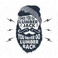 Hand drawn badge with textured face with beard vector illustration and lettering. Royalty Free Stock Photo