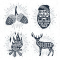 Hand drawn badges set with acorns, bearded face, bonfire, and deer illustrations.