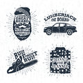 Hand drawn badges set with bearded face, pickup truck, chainsaw, and plaid shirt illustrations. Royalty Free Stock Photo