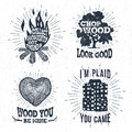 Hand drawn badges set with bonfire, oak tree, tree trunk, and plaid shirt illustrations.
