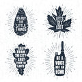 Hand drawn badges set with pine cone, maple leaf, oak tree leaf, and radio illustrations.