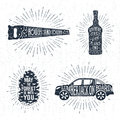 Hand drawn badges set with saw, whiskey bottle, fir tree cone, and pickup truck illustrations.