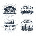 Hand drawn badges set with wooden cabin, pickup truck, saw, and spruce forest illustrations.