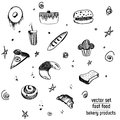 Hand Drawn bakery and fast food icon set. Blackboard stickers with chalk design. Vector illustration. Donut, soda, pizza and burge