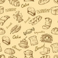 Hand drawn bakery vector icons set on beige Stock Photo