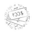 Hand Drawn Banknotes and Coins. Scribble Drawings of Cash and Arrows Arranged in a Circle. Sketch Style Royalty Free Stock Photo
